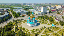 The Cathedral Of The Assumption Of The Blessed Virgin Mary, Panoramic Views Of The City. Omsk, Russia, From Dron