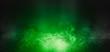 Leinwandbild Motiv Background of empty scene with concrete floor, neon lights and smoke. Background trend color ufo green