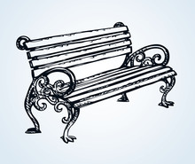 Park Bench. Vector Drawing