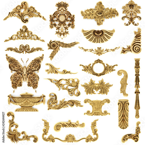 Gilded stucco, collection gold cartouche Wall mural