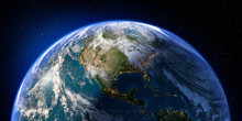 Planet Earth With Detailed Relief And Atmosphere. Day And Night. North And Central America. 3D Rendering. Elements Of This Image Furnished By NASA