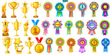 Set Of Golden Cups, Medals And Colorful Rosettes On White Background. Cartoon Rewards For Computer Games. Isolated Vector Illustration.