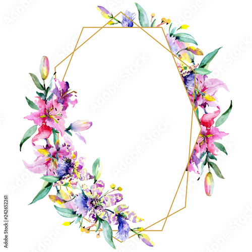 Poster Fleur Pink and purple orchid flower. Watercolour drawing fashion aquarelle isolated. Frame border ornament square.
