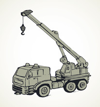 Machine With Crane. Vector Drawing