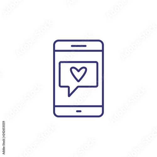 Love message on smartphone line icon  Dating application, love chat