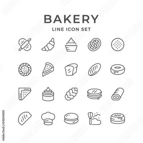 Foto op Canvas Restaurant Set line icons of bakery