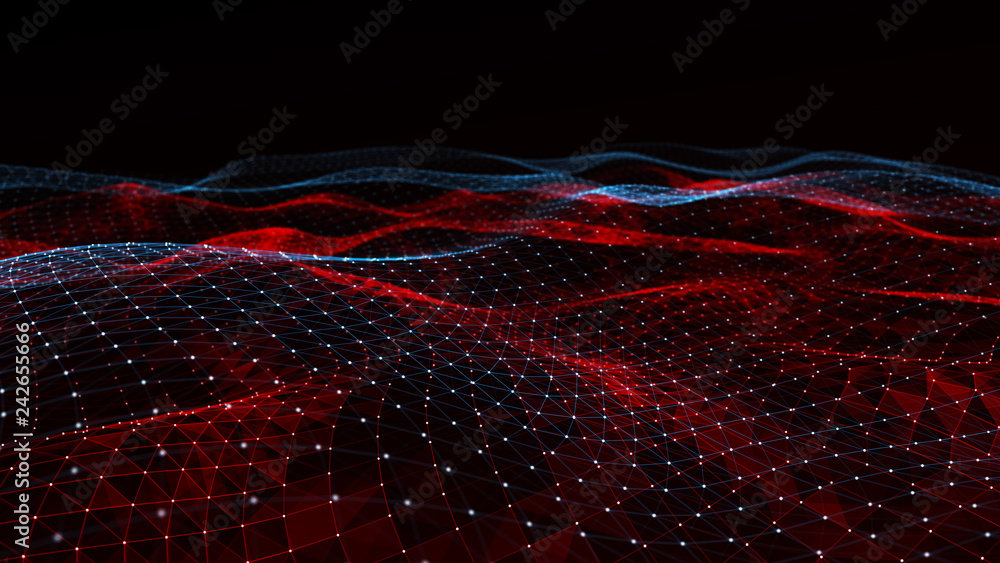 Abstract digital background with cybernetic particles. Plexus geometric effect Big data with compounds. Musical wave of particles. Low poly mesh. Flow. Wave. 3D rendering.