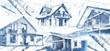 canvas print picture - Moderne Häuser und Baupläne