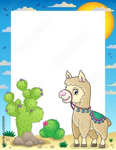 Tuinposter Voor kinderen Llama theme frame 1