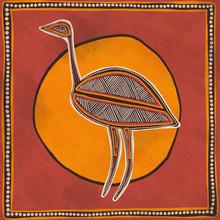 Australian Aboriginal Styled Dot Painting Artwork. Emu Bird. Original Digital Illustration.