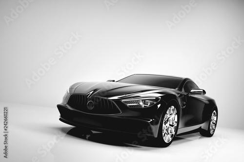 Czarny samochód sportowy na białym tle studio.