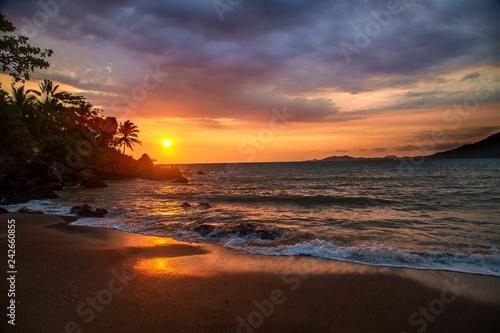 Poster Palmier Sunset on the beach Nosy Komba Island, Madagascar