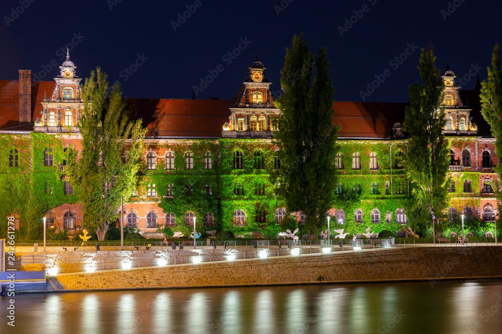 Fototapety, obrazy: Wrocław nocą, budynek Muzeum Narodowego we Wrocławiu
