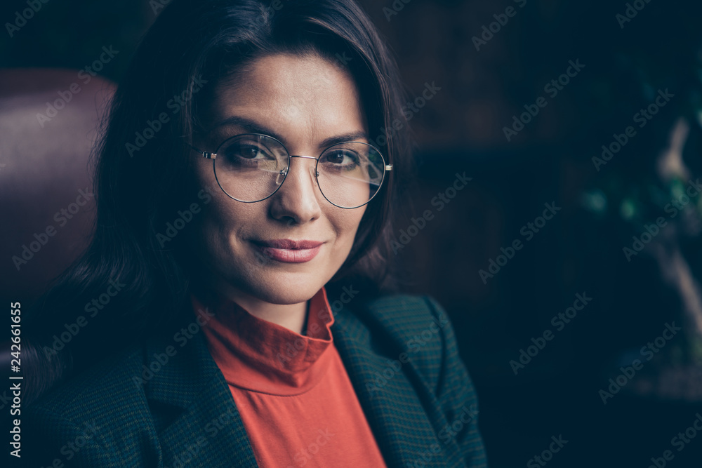 Fototapety, obrazy: Close-up portrait of nice attractive calm candid confident wavy-