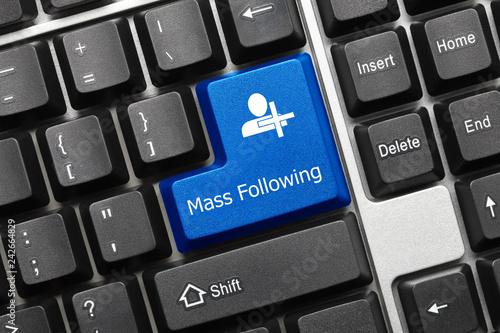 Fotografie, Obraz  Conceptual keyboard - Mass Following (blue key)
