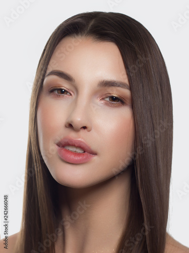 Fototapeten womenART Beauty Woman face Portrait. Beautiful Spa model Girl with Perfect Fresh Clean Skin. Youth and Skin Care Concept.Portrait woman female with problem and clear skin, youth make up concept