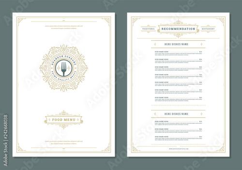 Carta da parati Restaurant menu design and label vector brochure template.