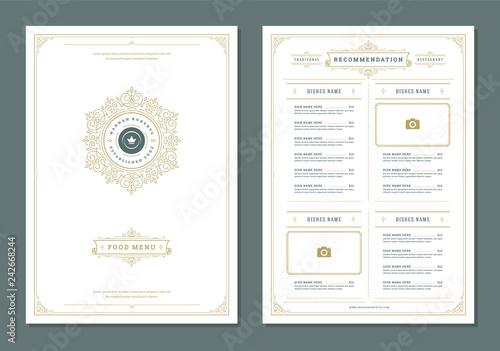 Foto  Restaurant menu design and logo vector brochure template.