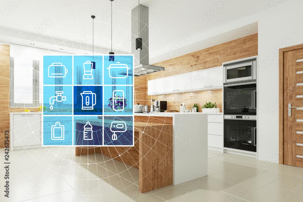 Fototapety, obrazy: Smart Home Technologie Interface für moderne Küche