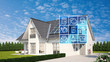canvas print picture - Haus und Garten mit Smart Home Technologie