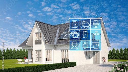 Fotomural Haus und Garten mit Smart Home Technologie