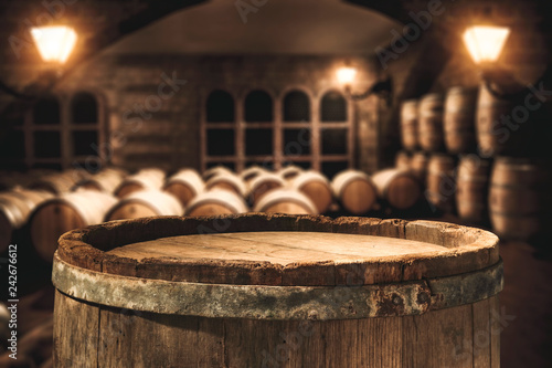 Wooden retro old barrel and free space for your decoration Wallpaper Mural