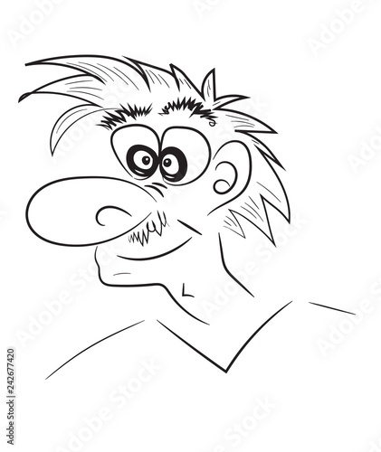 Photo Stands Owls cartoon Man face, freehand drawing. Vector illustration, sketch marker