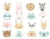 Fototapeta Fototapety na ścianę do pokoju dziecięcego - Big set of cute hand drawn animals.