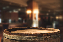 Retro Old Barrel And Blurred Background
