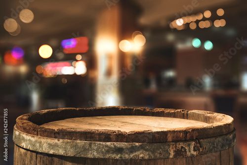 Retro old barrel and blurred background Wallpaper Mural
