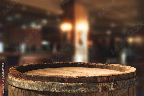 Tela Retro old barrel and blurred background