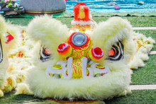 Close-up Of Yellow Dragon Head, Like The Lion Dance It Is Most Often Seen In Festive Celebrations During Chinese New Year.