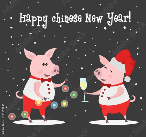 Deurstickers Babykamer Cute pigs with champagne and garland.