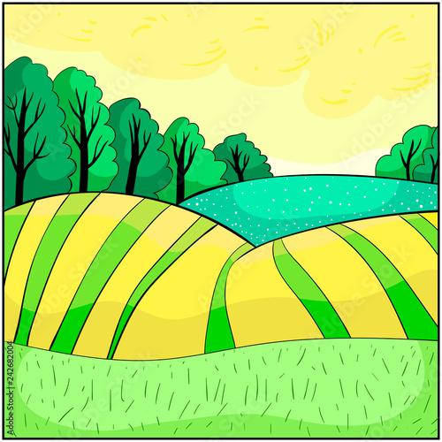 Fotobehang Zwavel geel Nature, landscape with hills summer.illustration