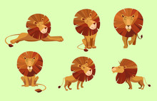 Cartoon Character Of Lion. Set...