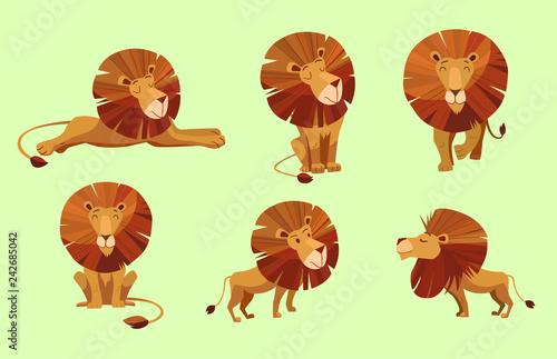 Naklejka premium Postać z kreskówki lwa. Zestaw ilustracji wektorowych.