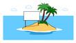 canvas print picture - Karibische Insel im Meer mit Schild für Marketing