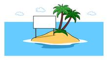 Karibische Insel Im Meer Mit Schild Für Marketing