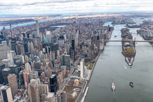 Roosevelt Island And Bridges As Seen From The Helicopter In New York City