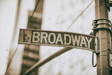 Broadway Street Sign In Manhat...