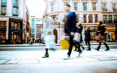 Motion blurred shopping street