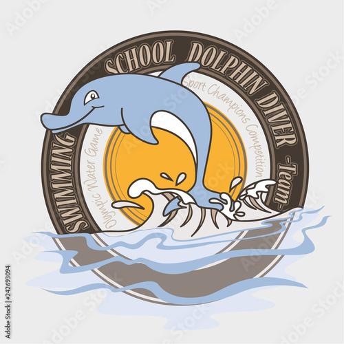 Fototapeta premium Szkoła pływania z delfinami