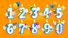 Set Of Happy Birthday Candle Numbers. Vector Illustration On Orange Background.
