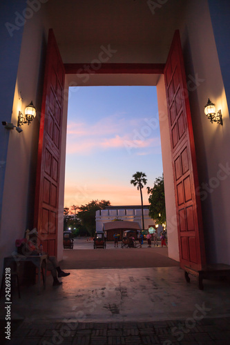 Fototapeta Traditional ancient Asian old town city gate entrance with beautiful twilight sky. Thailand Tourist Attraction Destination, Culture Travel, Tourism, Thai Architecture building, Art and history concept obraz na płótnie