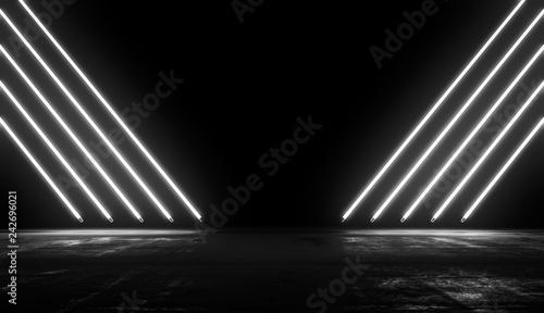 Fényképezés  Neon Glowing Lights Futuristic Background