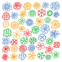 Vector set of colorful doodle flowers. Wedding ornament.