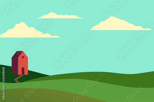 Vector illustration of fields landscape with a green hills, blue sky, and forest in flat style. Rural landscape. Vector illustration.