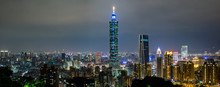 Panoramic Of Taipei City Skyline At Night In Taipei, Taiwan.