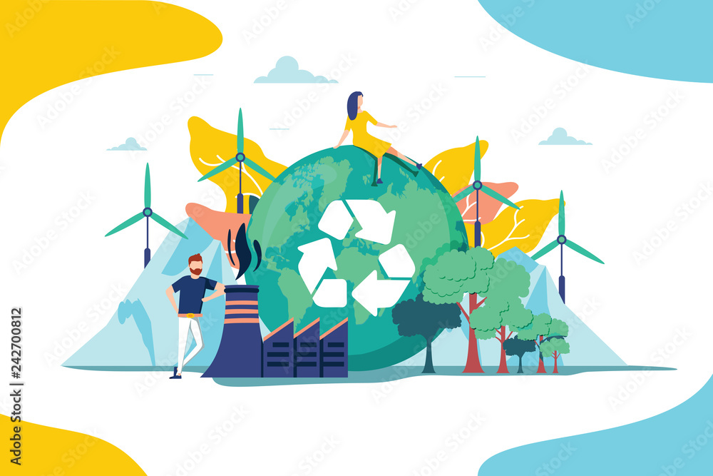 Fototapeta Environment vector illustration. Renewable nature resources collection for earth sustainability. People effect climate
