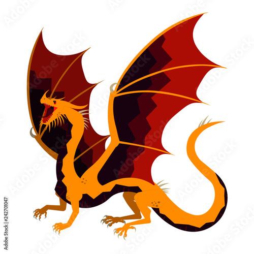 Poster Chambre d enfant Vector illustration of dragon